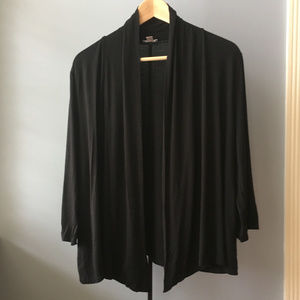 J. Jill Black Stretch Jersey Open Cardigan